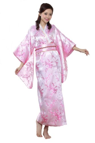 Jtc Asian Costume Women's Brocade Kimono Robe Japanese Dress Pink