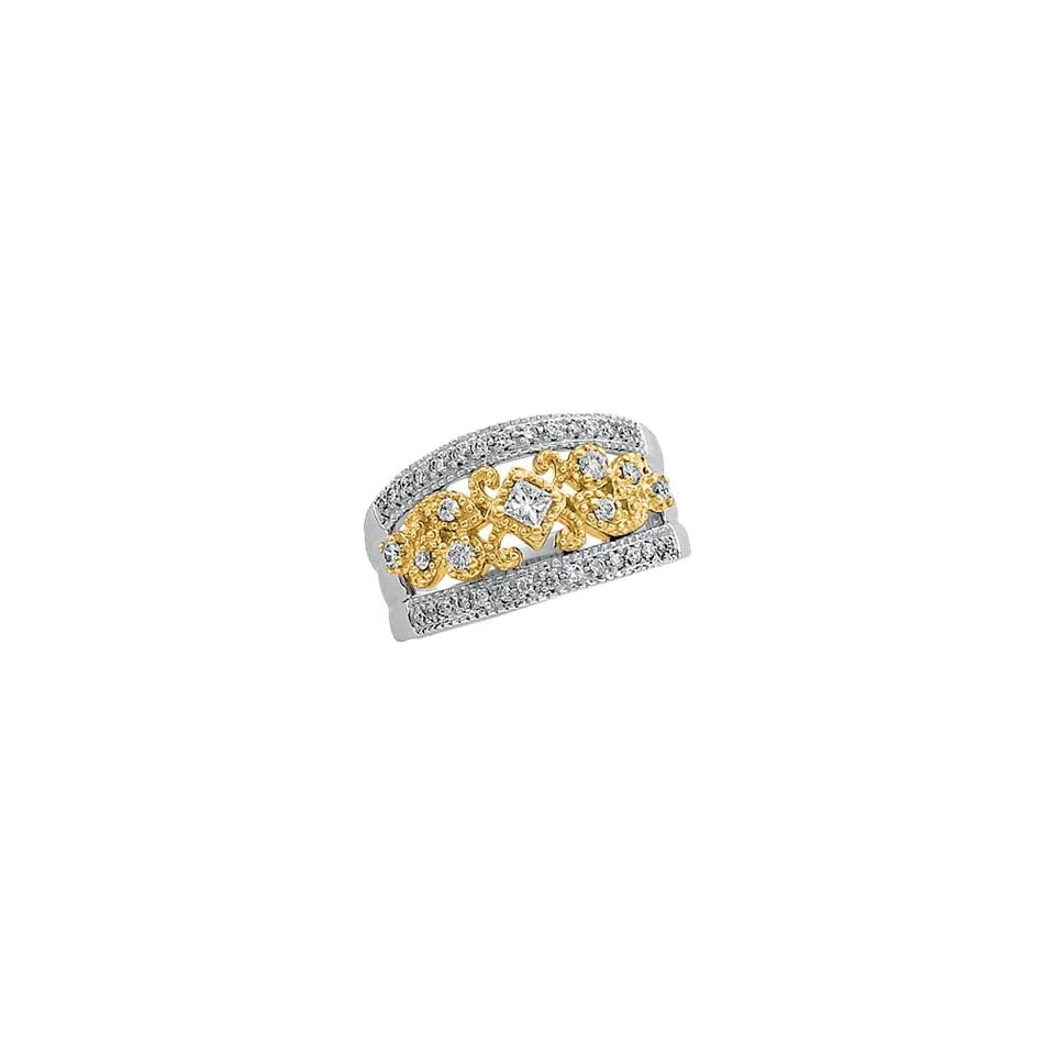 14K Two Tone Gold Diamond Band Ring