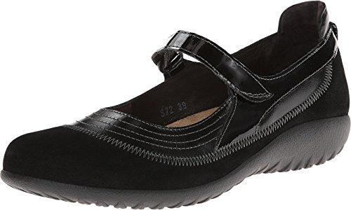 Naot Footwear Women's Kirei Wide Maryjane Black Madras Leather/Black Suede - 40 W EU