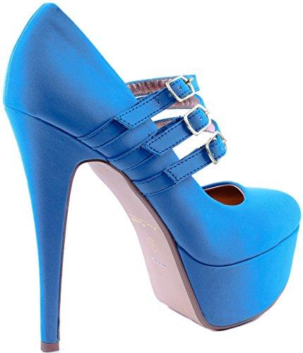 Anne Michelle Womens Realove-02 Décolleté Con Tacco Alto In Pelle Con Fibbie Decorative Blu