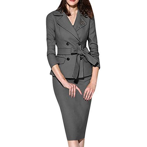 Women's Formal Office Business Work Jacket Skirt Suit Set Lady Bodycon Slim Fit Notch Lapel Blazer and Skirt Gray