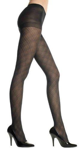 (Music Legs Spandex Diamond Criss Cross Pantyhose Black One Size Fits Most)