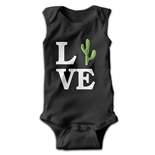 Fillmore-M Newborn Babys Boy's & Girl's Love Cactus Sleeveless Baby Climbing Clothes For 0-24 Months Black Size 6 M
