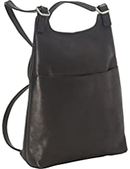 Royce Leather Colombian Leather Sling Backpack, Black, One Size