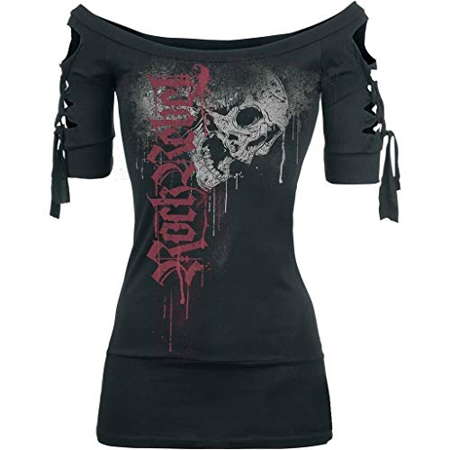 OrchidAmor 2019 Womens Fashion Skull Printed Cool Black T-Shirt Slash Slit Tops Plus Size