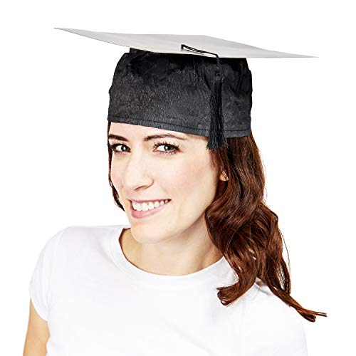 Juvale 6-Pack Disposable Paper Graduation Cap Hats with Tassel, One Size Black