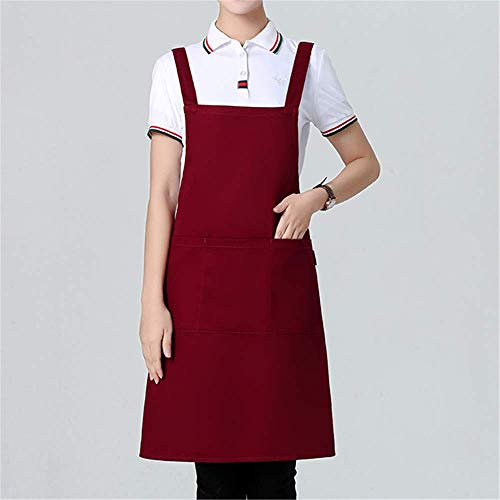 YXDZ Apron Korean Beauty Salon Beautician Nail Shop Hotel Waiter Apron Maternal and Child Shop Supermarket Workwear Apron Wine Red