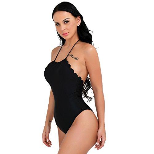 iEFiEL Trajes Ropa de Baño de Una Pieza Tankini Bañadores Espalda al Aire Push Up para Mujer
