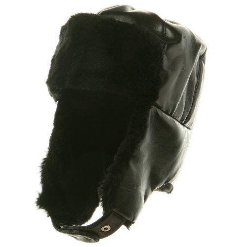 Broner Mens Vinyl Trooper Aviator Cap Hat (Black, XL)]()