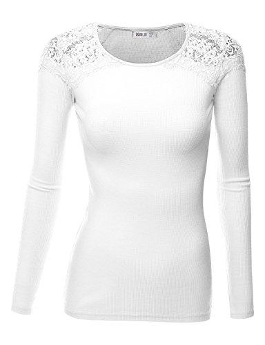 SJSP Women Women Casual Short Sleeve Shoulder Casual V-Neck WHITE Slim Fit Top,Large,L