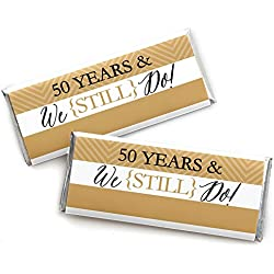We Still Do - 50th Wedding Anniversary Party - Candy Bar Wrappers Party Favors - Set of 24