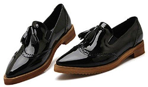 Idifu Mujeres Casual Ahuecado Bajo Grueso Tacón Puntiagudo Oxfords Low Top Slip On Zapatos Con Borlas Negro