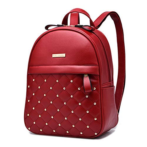 Cute Mini Leather Backpack Fashion Small Daypacks Purse for Teen Girls and Women (Red) (Backpack Purse Red)