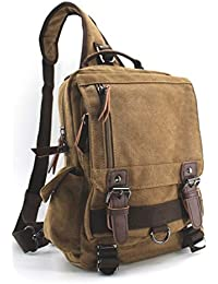 a5ce95fe9c21 Canvas Shoulder Backpack Travel Rucksack Sling Bag Cross Body Messenger Bag