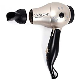 Revlon 1875 Watt Fast Dry Compact Hair Dryer with Ionic Select Technolgy, Folding Handle for Easy Convenience - 41T1 674 2BGL - Revlon 1875 Watt Fast Dry Compact Hair Dryer with Ionic Select Technolgy, Folding Handle for Easy Convenience, Worldwide Dual Voltage, Bonus FREE Hair Pins Included