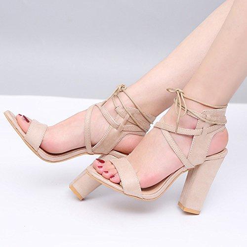 Sandales La Peeps Cheville Super Femmes Des Boucle Fashion Liangxie Talons Tête Grossières Beige High Ronde Creuse Heels Ultimate Main Chaussures À Lady Hauts wn8fXY