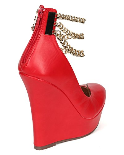 Liliana Round Zipper Platform Wedge Ankle Leatherette Women Toe Leatherette CE51 Chains Red 7rn71Oaq