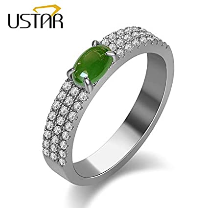 JEWH Green Stone Wedding Rings for Women - AAA Cubic Zirconia Crystals Engagement Rings - Female