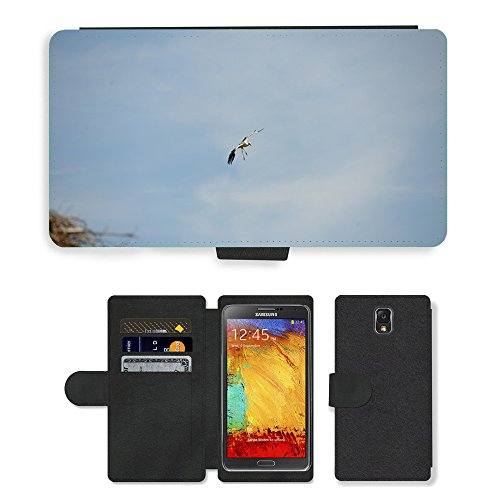 Just Phone Cases Flip PU Leather Wallet Case with Credit Card Slots // M00127493 Stork Bird Animal Rattle Stork // Samsung Galaxy Note 3 III N9000 N9002 N9005