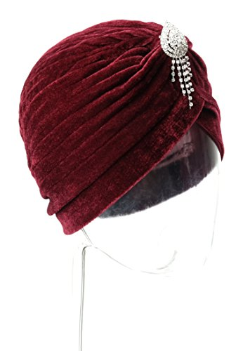 Vintage 20s 30s 50s Twist Pleated Stretch Turban Hat Chemo Beanie Cap Hat for Cancer Patient (Pleated Jewel)