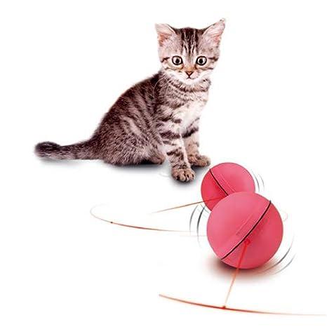 QNMM Gato Eléctrico Juguete Bola Rodante Flash LED Gato Divertido Bola Juguete Interactivo Mascota Inteligente Adecuado