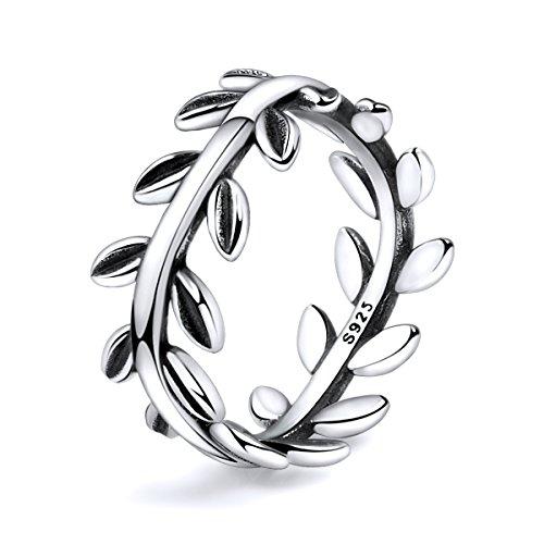 Twenty Plus Simple Sterling Silver Laurel Wreath Finger Ring Gifts for Women & Girls
