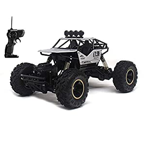 Toyshine Alloy Dirt Drift Remote Controlled Rock Car RC Monster Truck, Four Wheel Drive, 1:18 Scale 2.4 Ghz, Silver