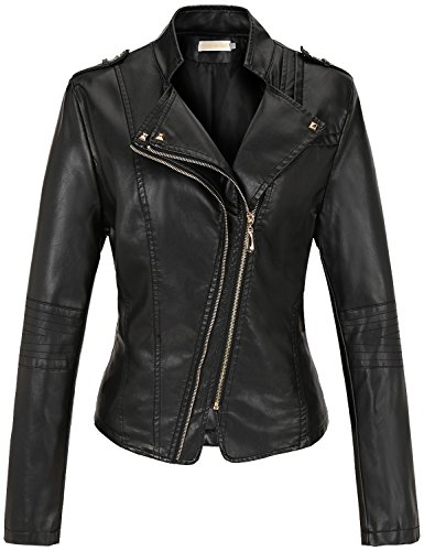 Tanming Womens Zipper Leather Jacket