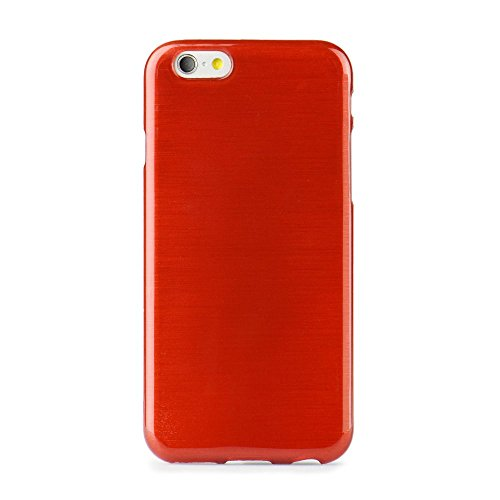 handy-point Aluminium gebürstet Optik metallic Gummihülle Silikonhülle Gummi Silikon Schale Schutzschale Schutzhülle Hülle für iPhone 6 6S (4.7 Zoll) Rot