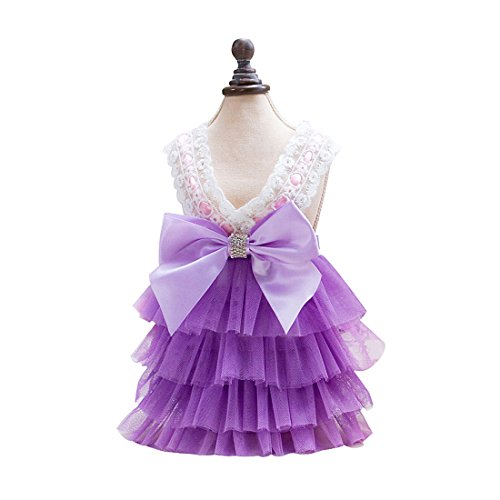 uxcell Small Dog Princess Tutu Dress Pet Clothes Puppy Wedding Party Skirts Purple S