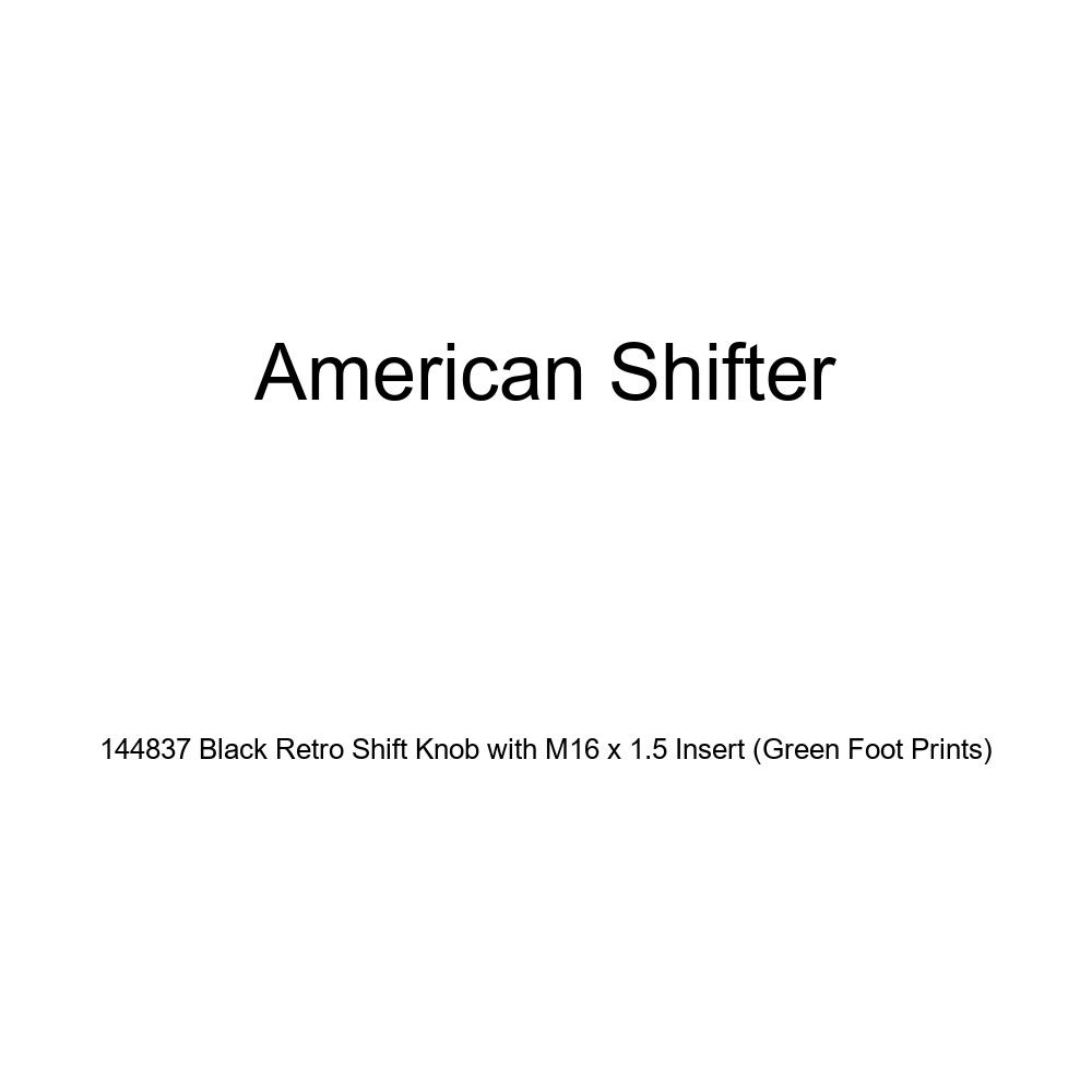 American Shifter 144837 Black Retro Shift Knob with M16 x 1.5 Insert Green Foot Prints