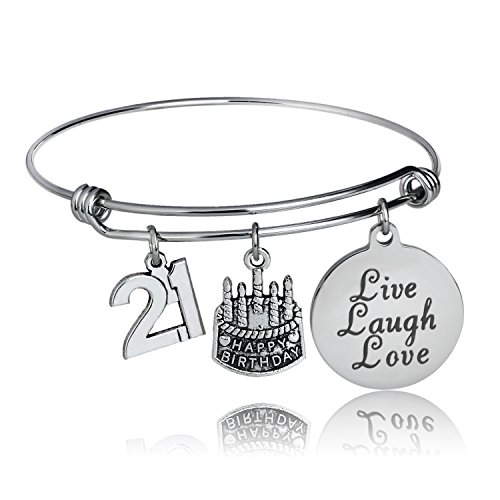 YeeQin Happy Birthday Bangles, Cake Cheer Live Laugh Love Charms Bangle Bracelets, Gifts for Her (21st Birthday)