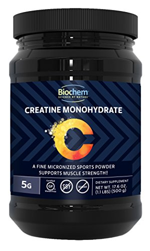 Biochem Creatine Monohydrate Powder, 1.1LB - Pre-Workout Supplement Supports Muscle Growth, High Energy & Performance, Unflavored, 100 Servings (Best Creatine For Sprinters)