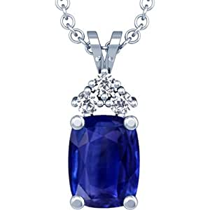 Platinum Cushion Cut Blue Sapphire And Round Diamond Pendant