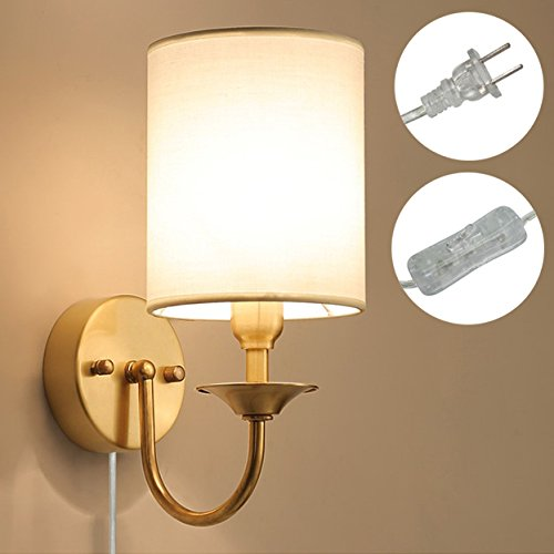 Kiven Copper Wall Lamp Single Head Bedroom Living Room Beside Lamp Minimalist European Style Lighting On/Off Plug-in Switch Cord Bulbs Not Included by Kiven