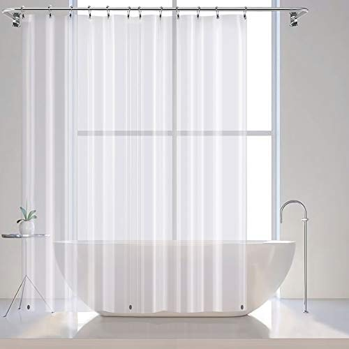 VCVCOO Smooth Feel Waterproof Shower Curtains Liner,Eco-Friendly Non Toxic No Odor PEVA Plastic Shower Curtains for Bathroom, Hotels Bath Curtain Luxury with Magnets(72x72inch, Clear) - Plastic Curtain Transparent