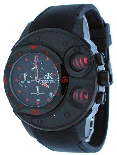Adee Kaye #AK8002-MIPB Men's Black IP Carbon Fiber Top Spring Pusher Chronograph Watch