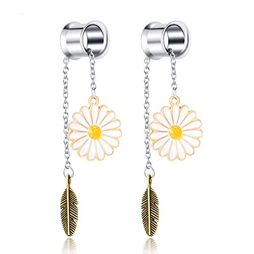 Oyaface 2pcs Handmade Leaf Dangle Plugs Ear Tunnels Gauges Piercing Jewelry 1/2''(12mm)