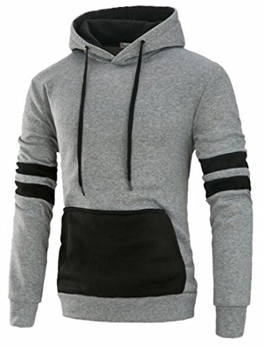 Price comparison product image XTX Mens Stylish Pullover Funnel Collar Colorblock Hooded Sweatshirt Light Grey L