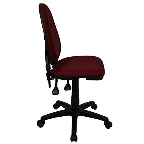 Boswell Mid-Back Burgundy Fabric Swivel Home/Office Task Chair, Lumbar Support