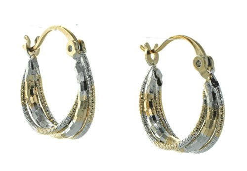 Textured Two-Tone White and Yellow Gold Tone Three Strand Hoop Earrings ()