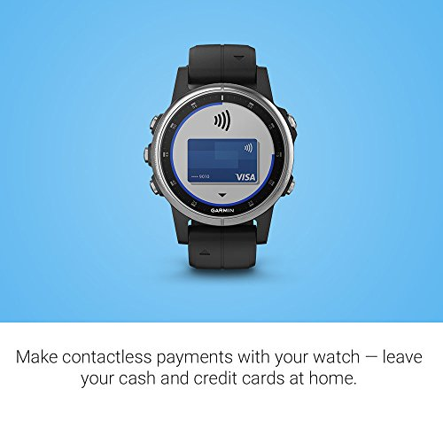 Garmin fenix 5S Plus, Smaller-Sized Multisport GPS Smartwatch, Features Color Topo Maps, Heart Rate Monitoring, Music and Contactless Payment, Silver/Black