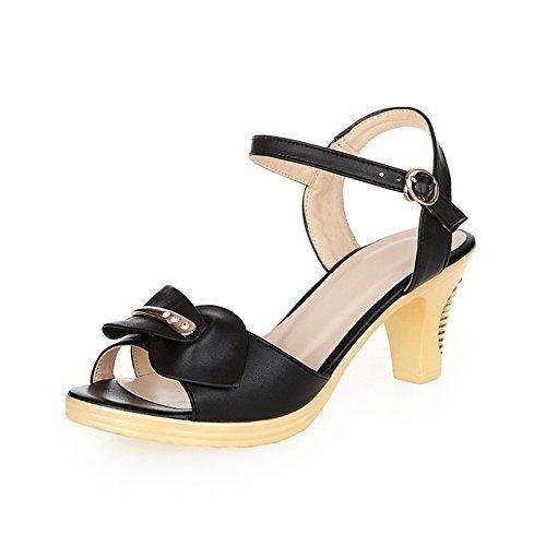 Moda Mujer verano sandalias confortables tacones altos,39 azules Black