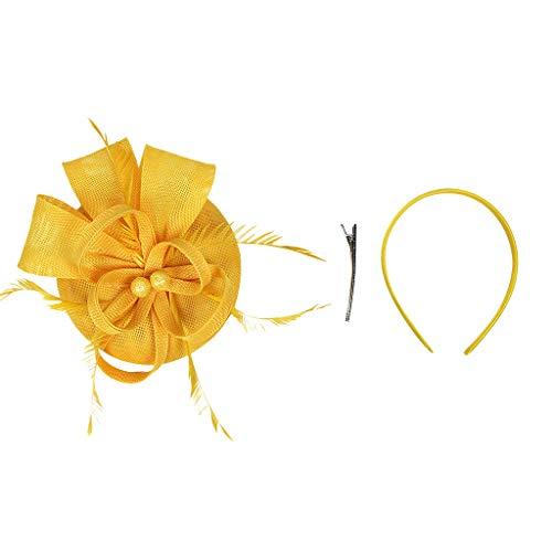 (hositor Headband, Handmade Women Hair Clip Feather Wedding Casual Fascinator Headpieces Yellow)