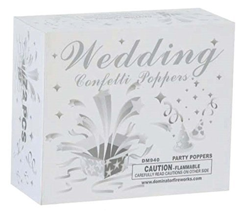Wedding Confetti Poppers Silver Box of 72 Poppers by Unknown