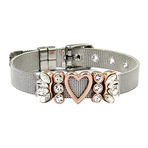 (Exquisite Jewelry Crystal Rhinestones Sun Burst Angel Wings Heart Slide Charms Stainless Steel Mesh Keeper B)