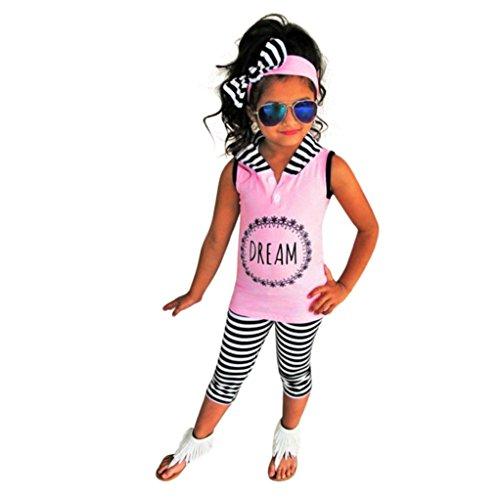 Kleidung Set Mädchen BeautyTop Baby Mädchen Sommer Kleidung Set Kleidung Baby kleiderset 2Pcs/Set Baby Kinder Hooded Ärmellose Bluse Tank top + Hose Outfits Rosa
