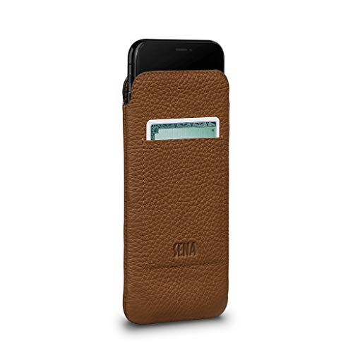 - UltraSlim Leather Wallet Sleeve Cell Phone Case for iPhone XS Max - Wireless Charging Compatible - Tan