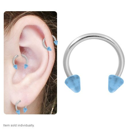 Glow in the Dark Cartilage Tragus Horseshoe Ring Blue Acrylic Spike Beads 16g 10mm Blue Acrylic Spike