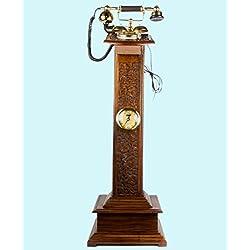 ANTIQUES WORLD ANTIQUE VINTAGE REGENERATED UNIQUE WOODEN ART DÉCOR STAND PHONE MAHARAJA (KING) TELEPHONE WITH CLOCK INBUILT AWUSATP 011
